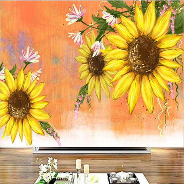 Custom 3 d Modern Wallpaper Desktop Flower Wall Mural Sunflower ...