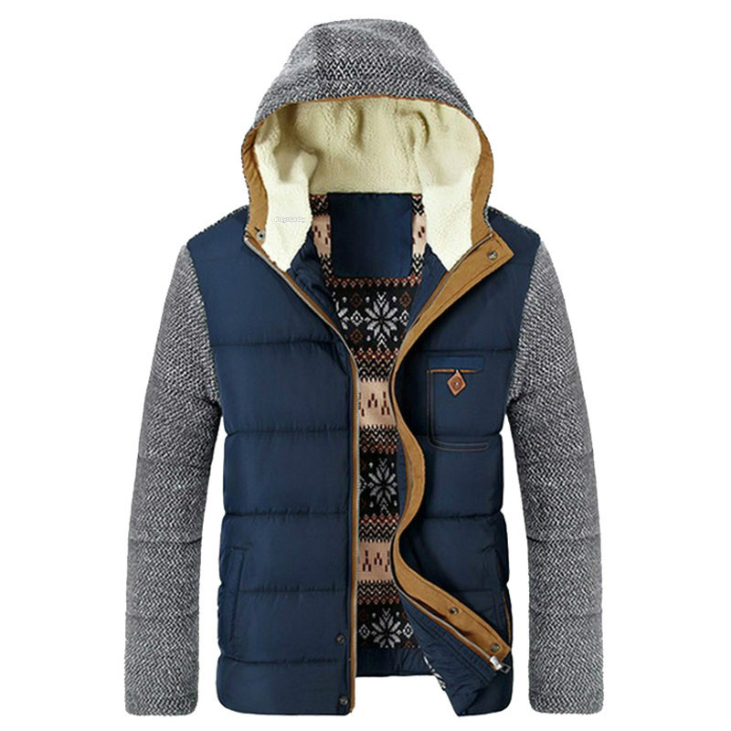 Blue rembourré Homme Nouveau noir Parkas Coton Hommes Conception Corée Mode 2016 Outwear Dark D'hiver Vêtements Patchwork Vestes Jeunes Marque Style Chaud nkNPX8O0w