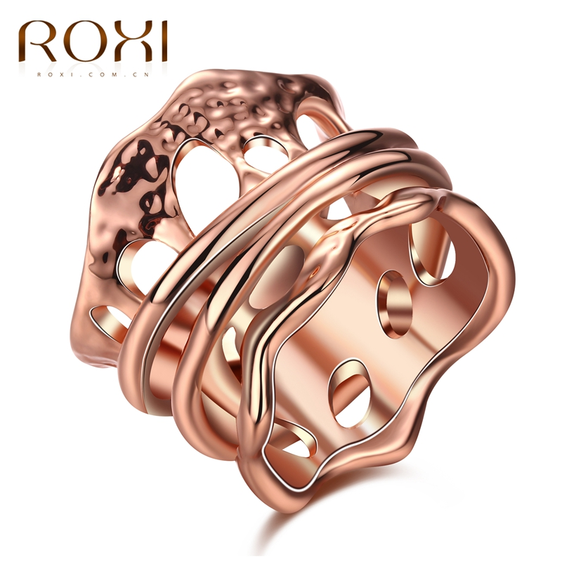 ROXI Fashion Women Ladies Rings Irregular Style Female Jewelry White/ Rose Gold Color Finger Ring For Women Party Wedding Gift
