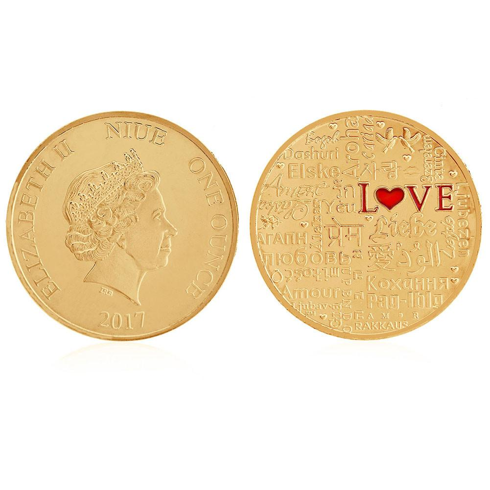 1pcs Golden Elizabeth II Commemorative Coin LOVE Different National Languages Travel Challenge Coin Gift Collection