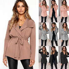 S-2XL women autumn winter kintted trench lady belt casual leisure tops spring pure color coat
