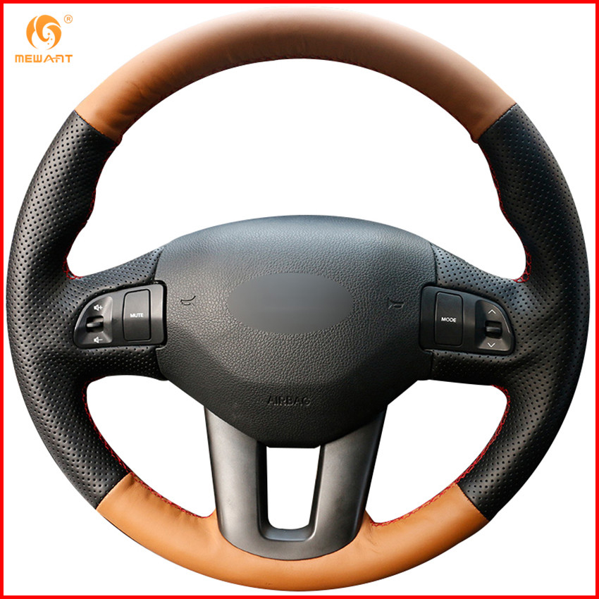 2014 Kia Sportage Interior: MEWANT Orange Black Leather Car Steering Wheel Cover For
