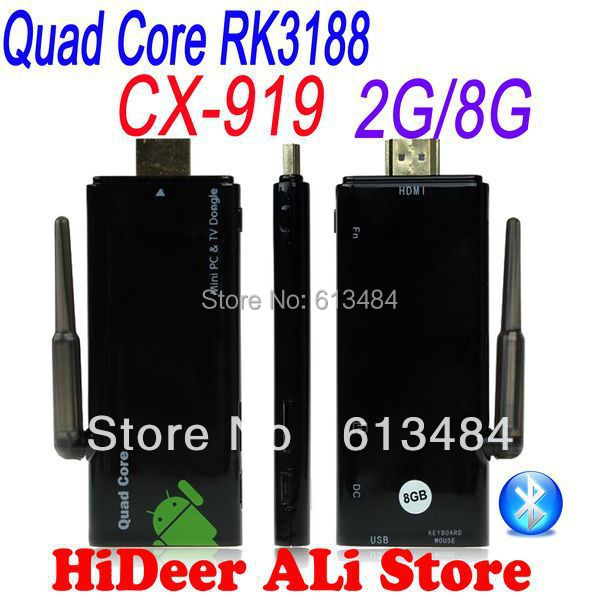 Quad core rockchip rk3188 2GB RAM CX-919 bluetooth WiFi Antenna Strong singal CX919 CX 919 Mini PC Android 4.4.2 TV Dongle