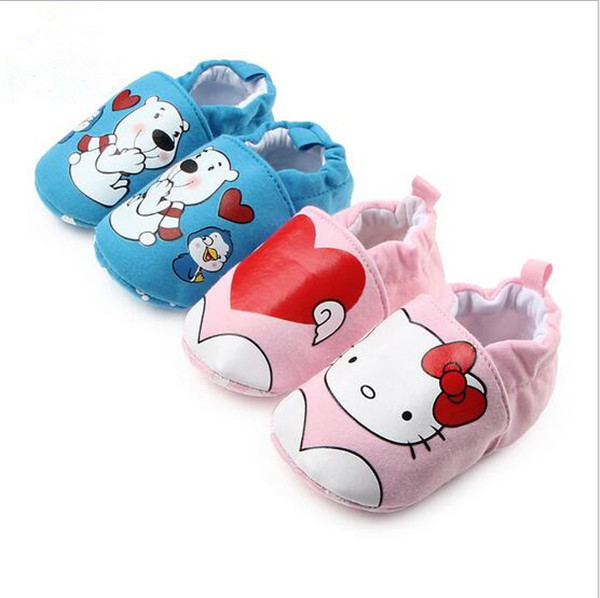 2017 Dejlig Cartoon Baby Sko First Walkers Antislip Spædbørn Toddlers Crib Shoes