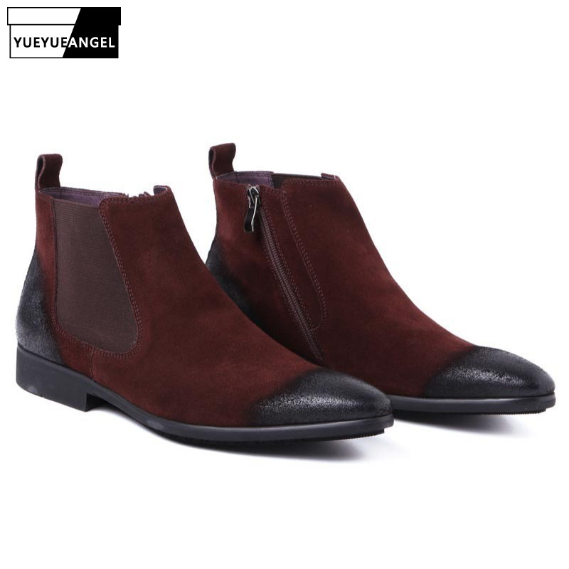 Winter Genuine Suede Leather Business Man Office Work Shoes Male Footwear Top Brand Zipper Retro Ankle Boots Wedding Dress Shoes Men's Boots Men's Shoes