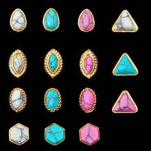 1PCS New 15 style optional Alloy  turquoise,DIY Nail art 3D Retro Crack style  jewelry decoration,nail tools Free shipping