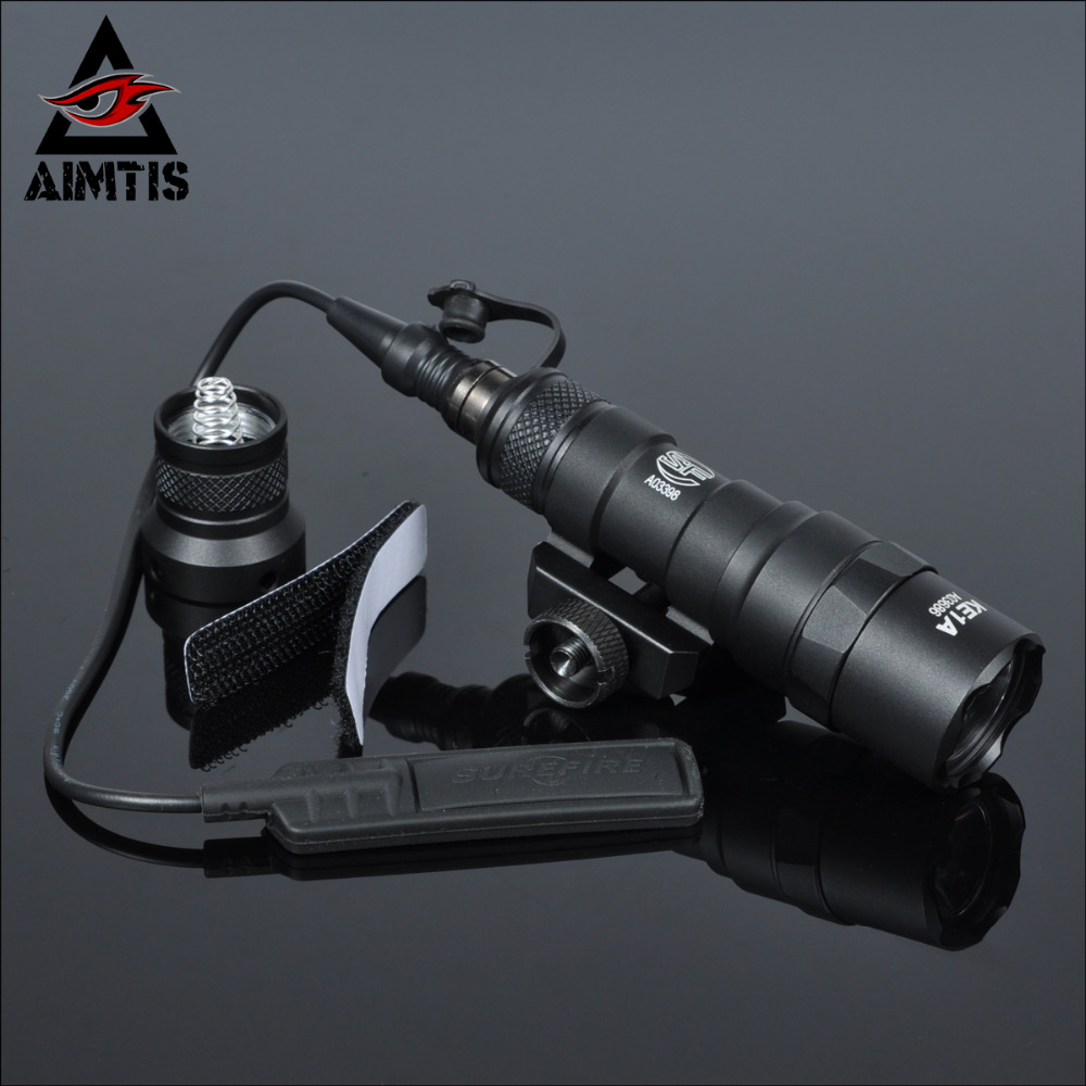 AIMTIS M300B Mini Scout Light Tactical Rail Light Rifle Hunting Flashlight Constant / Momentary Output for 20mm Picatinny Rail greenbase tactical m300 m300b mini scout light outdoor rifle hunting flashlight 400 lumen weapon light led lanterna