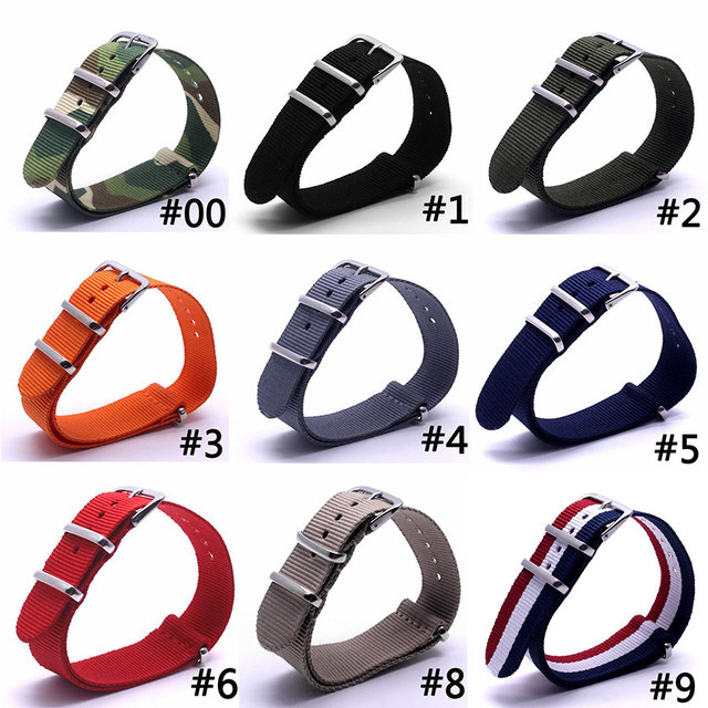 16 18 20 22 24mm Men Wemen Watch Bands Strap Fabric Nylon Nato Army Sports Top Q