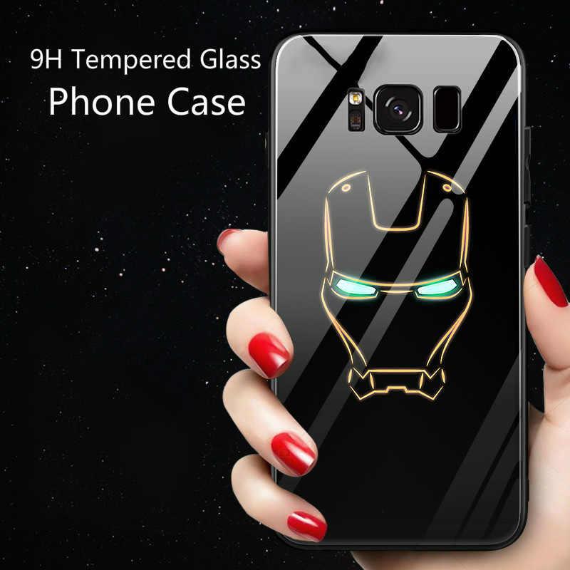 8e8ff68fa01 ... Fundas Avengers Marvel Iron Man Spiderman Captain America Batman  Luminous Glass Case For Samsung Galaxy Note ...