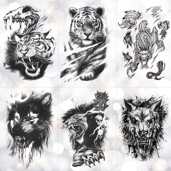 Tiger Skull Leopard dragon Waterproof Temporary Tattoo Sticker Wolf Animals Tattoos Body Art Arm Hand men Fake Tatoo