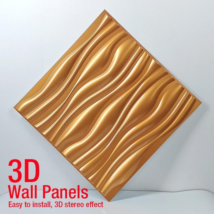50x50cm 3D Art Wallboard Diamond Shark Wave Wood Carving Wall Sticker 3D Background Wall Sticker Decorative Board House Decor