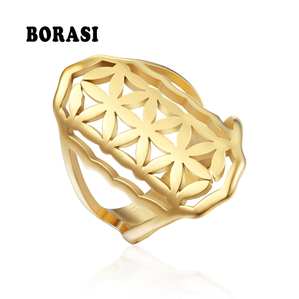 BORASI Luxury Big Rings for Women Stainless Steel Gold Color Wedding Party ring Personality Female Jewelry Party New Rings 2018