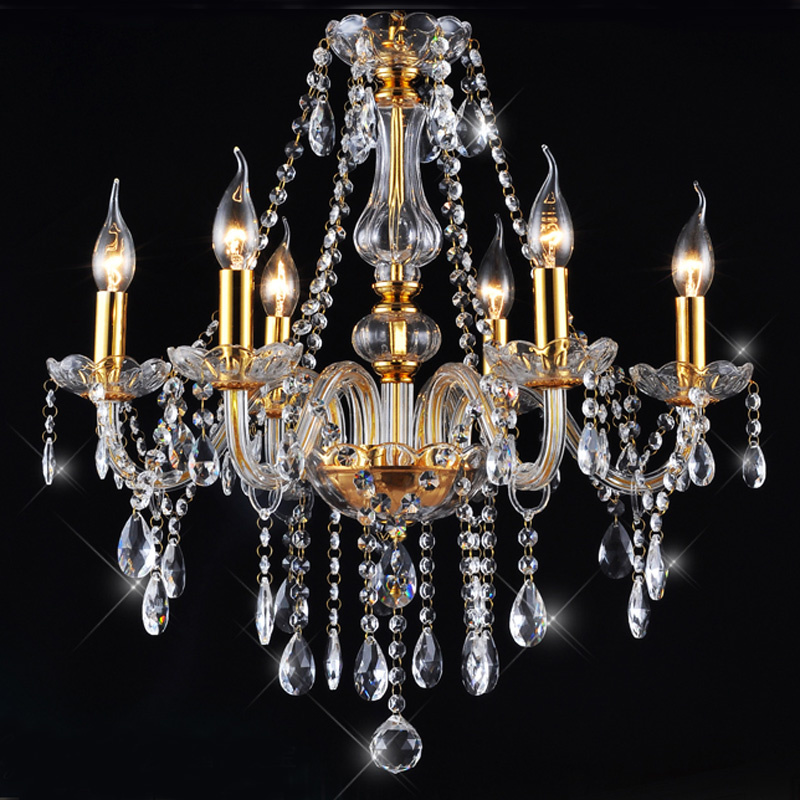 Ecolight Modern Led Crystal Chandelier 6 Lights G9 Crytal Gold Plating Metal Chandeliers Lamp for Living