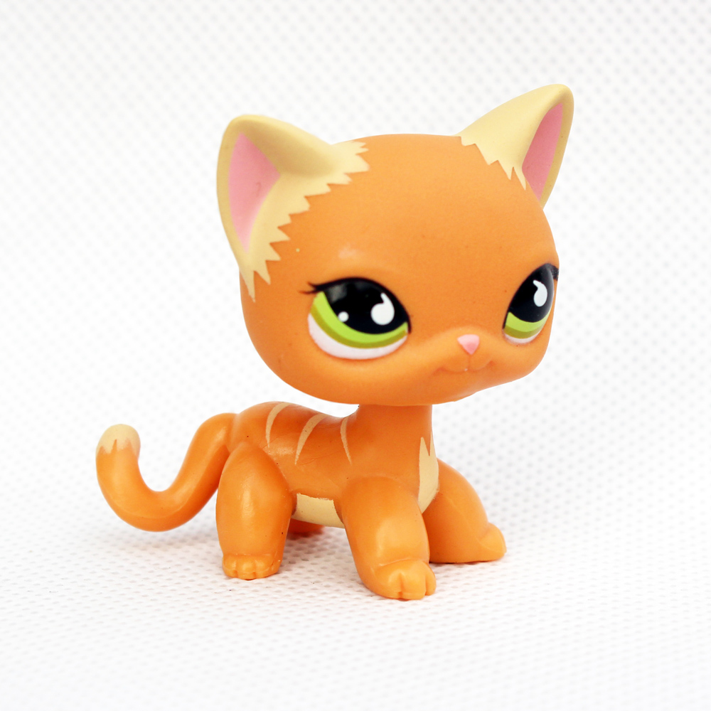 Real Pet Shop Toys Standing Orange Stripe Cat With Green Eyes Old Rare Short Hair Kitten Child Collectible Gifts