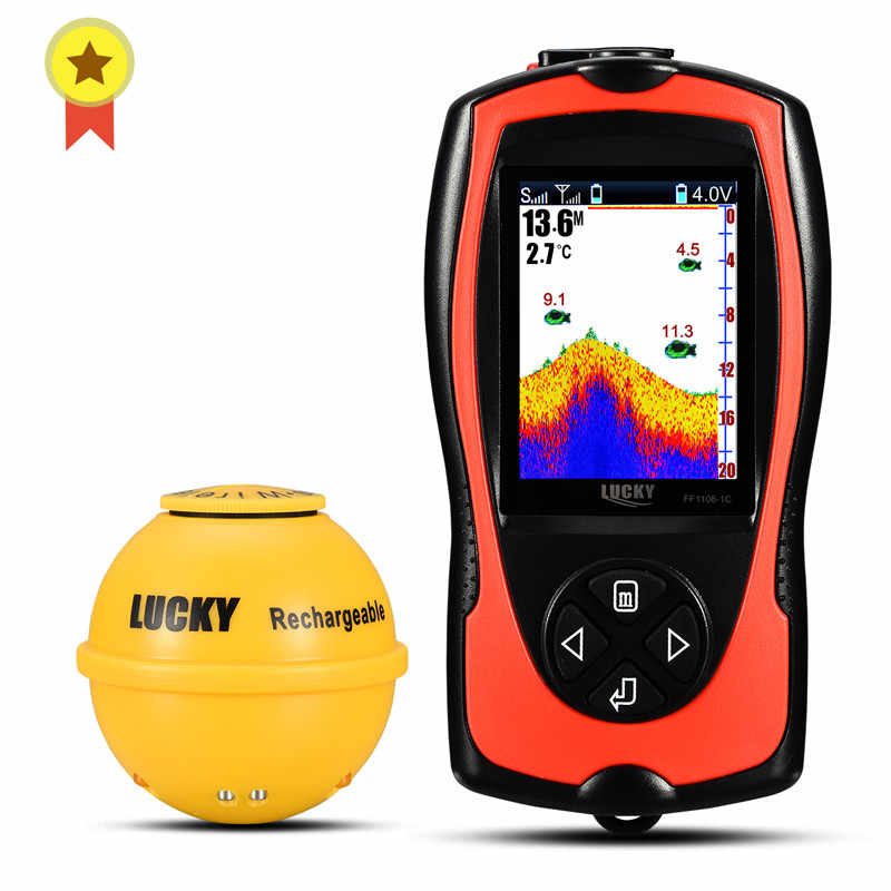 LUCKY Wireless Echo Sounder For Fishing LCD Fish Finder Li-battery Recharge Attractive Lamp Sonar Sensor 45M Water FF1108-1CWLA