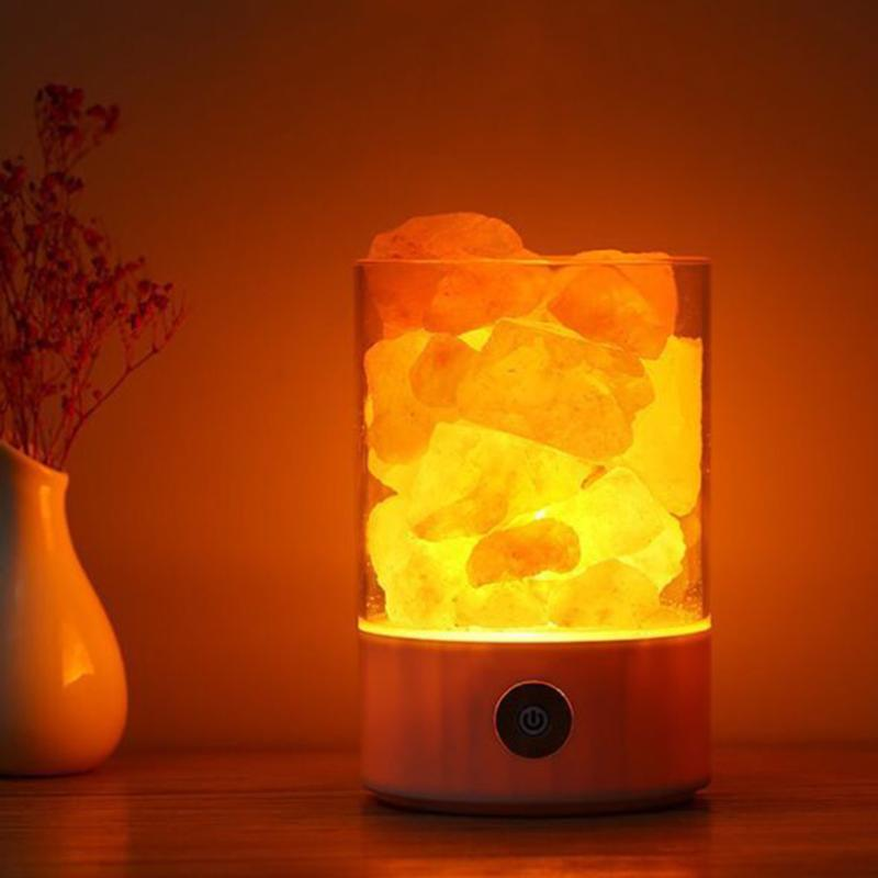 LED Night Light Himalayan Salt Lamp Air Purifier Crystal Salt Rock Bedside Night Light For Bedroom Decoration tanbaby usb crystal salt night light himalayan crystal rock salt lamp air purifier night light touch dimmer switch creative gift