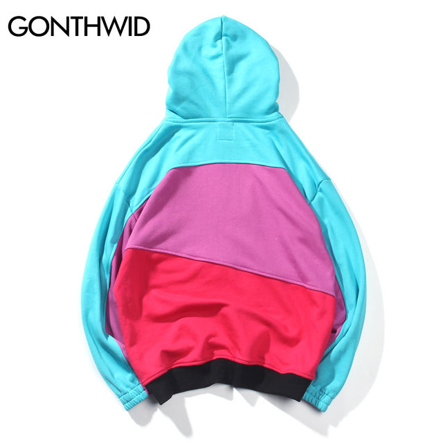 GONTHWID Half Zipper Pullover Hoodies Mens Color Block Patchwork Zip Pocket Hooded Sweatshirts 2018 Hip Hop Cotton Streetwear
