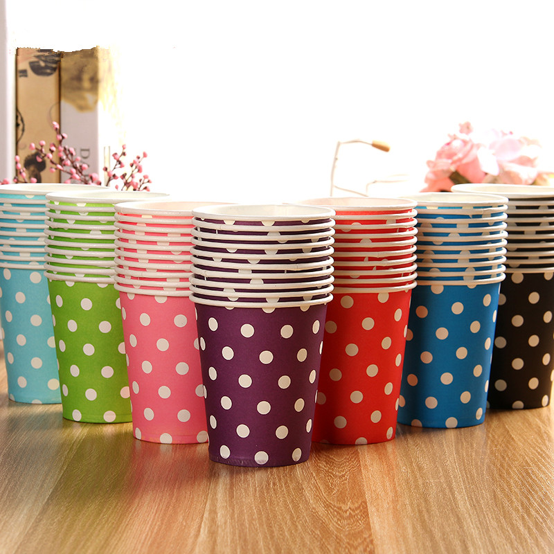 50pcs/Lot Birthday Party Supplies Holidays Multicolor Polka Dot Disposable Paper <font><b>Cups</b></font> Wedding Supplies