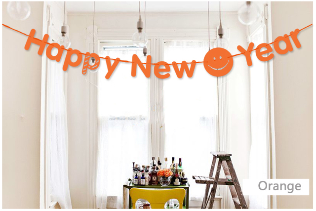 3m orange happy new year paper flag banner garland with smily face diy christmas new year