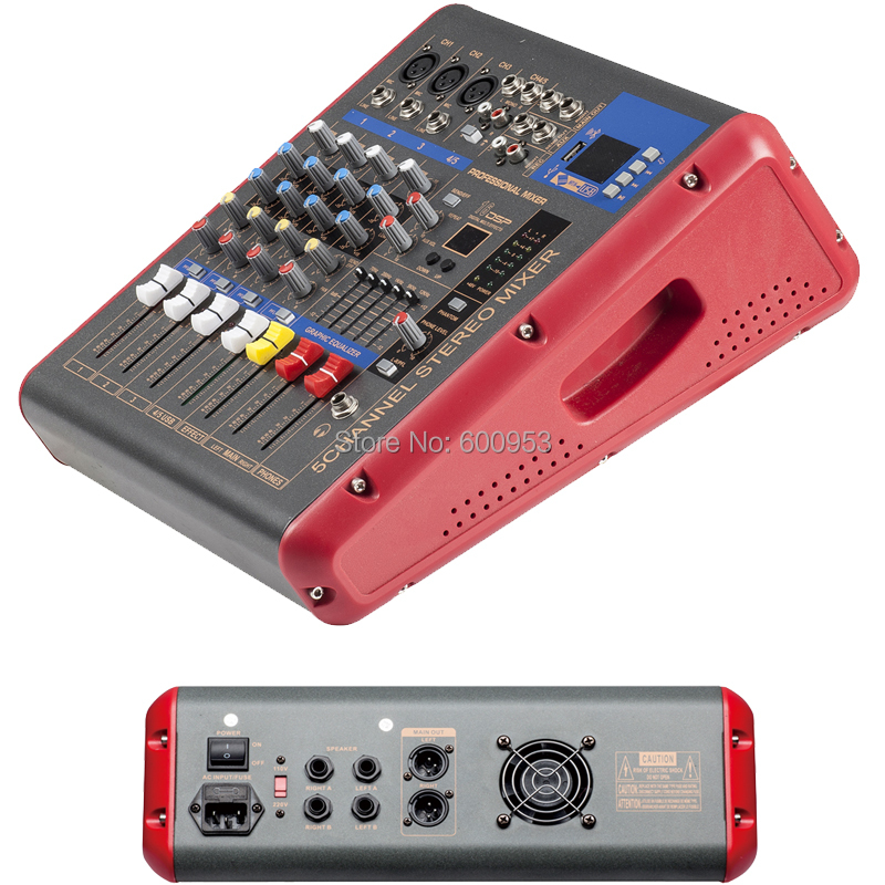 Pro 5 Channel 1200 Watts Power Digital Mixer 2 in 1 Function Amplifier Microphone Sound Mixing Console with USB DSP Bluetooth leory mini karaoke audio mixer 4 channel microphone digital sound mixing amplifier console built in 48v phantom power with usb