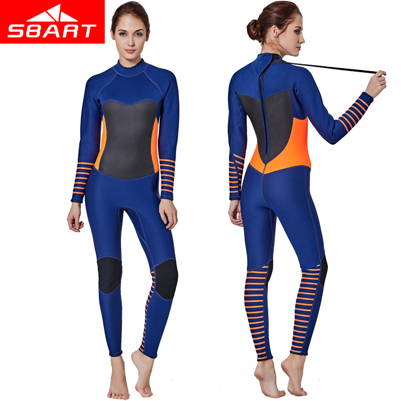 SBART Professional 3MM Zipper Wetsuit Full One Piece Spearfishing Jumpsuits Diving Suit Rash Guard Long Sleeved Wetsuits sbart professional women one piece