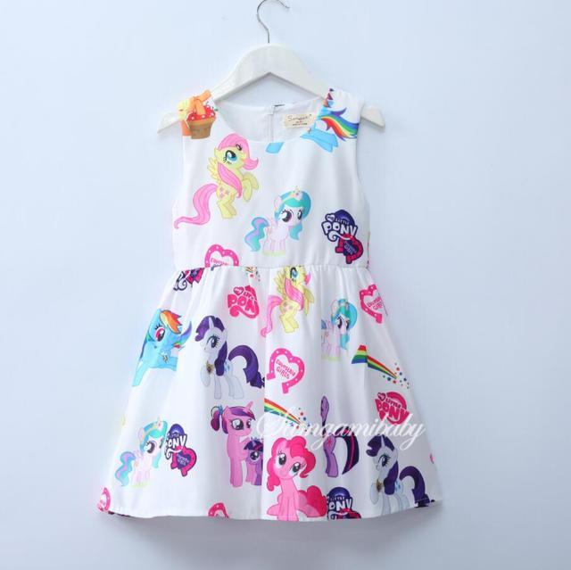 שלי תינוק בנות שמלות בנות שמלה הקטנה פוני קריקטורה נסיכת ילדים תלבושות עבור 3-8Y קיץ סגנון בגדי ילדים
