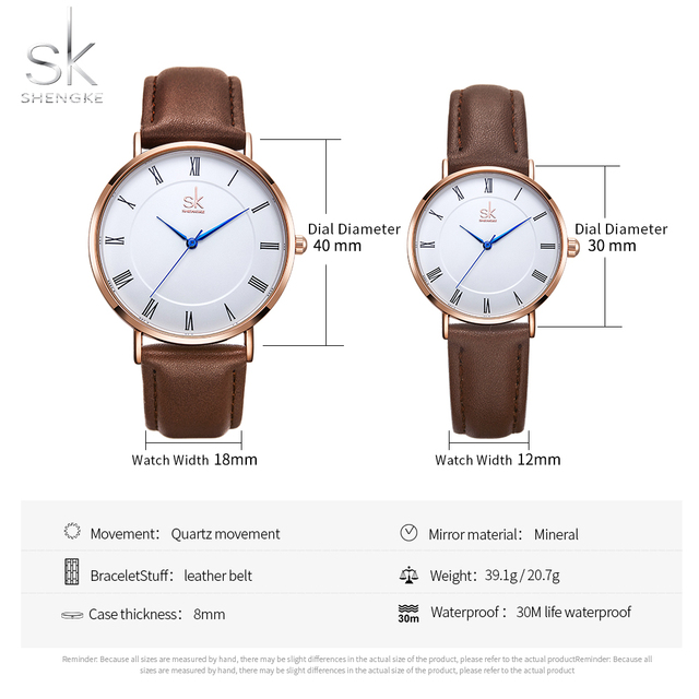 Set Quartz Wrist Watch for Men and Women Simple Leather Band