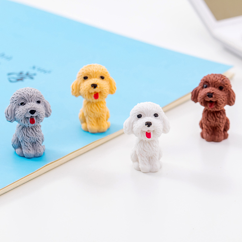2 Pcs Novelty Teddy Dog Eraser Rubber Pencil  Eraser For Kids Kawaii Stationery School Supplies Papelaria Gift For Kids Prize