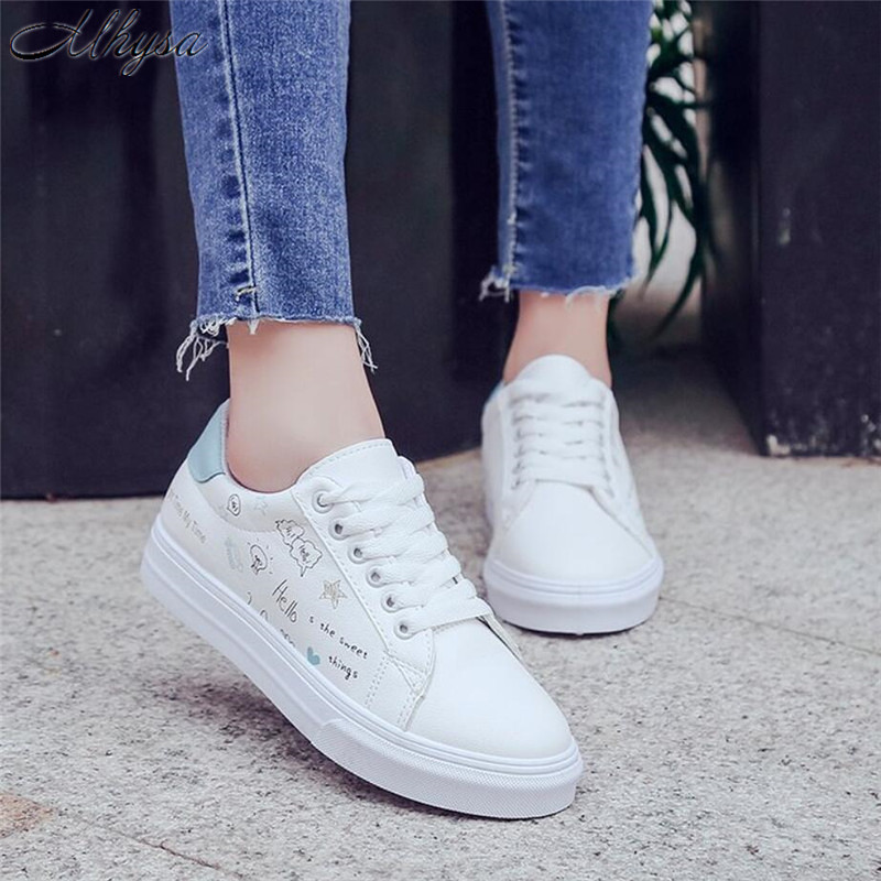 Mhysa 2018 Shoes woman new fashion casual platform leather classic cotton women casual lace-up white shoes sneakers S542 1