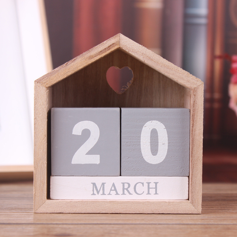 tanghome vintage creative handmade house wooden calendar calendar manual crafts home furnishing letters ornaments desktop arts
