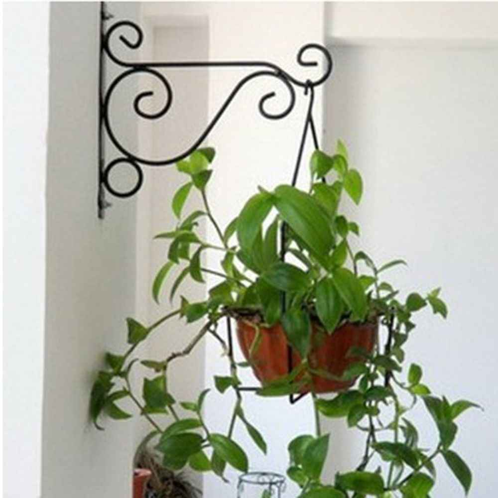 1pc Stand Holder Garden Wall Light Iron Hanging Flower Plant Pot Bracket Hook Shelf Hanger household decorate practical