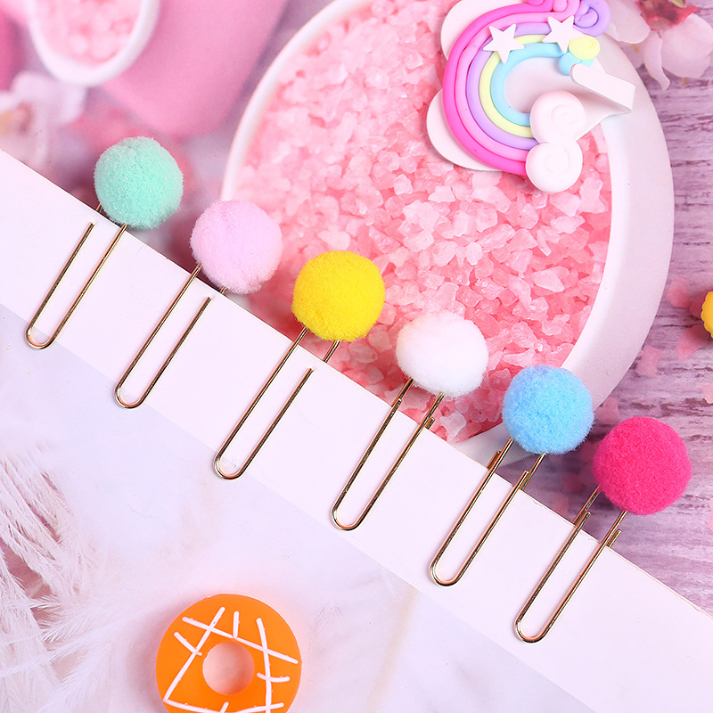 6 Pcs Cute Kawaii Rilakkuma Series Plush Ball Bookmark For Books Clip Memo Clip Paper Clip Bookmark Novelty Gift Bookmarker
