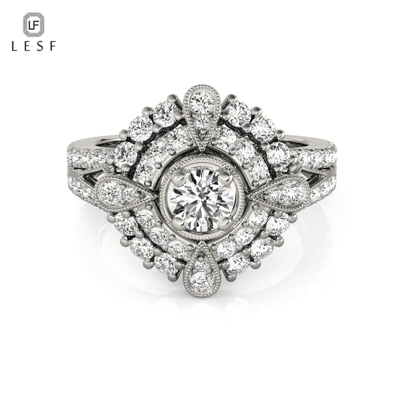 LESF New Unique Design 925 Sterling Silver Finger Rings Cubic Zirconia Wedding Rings for Women Fashion Real Silver Jewelry slovecabin real 925 sterling silver link chain lock finger rings for women vintage napkin wedding rings for women bijoux female