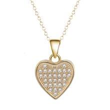 Крошечный Циркон Подвеска в виде сердца желтое золото заполненная
