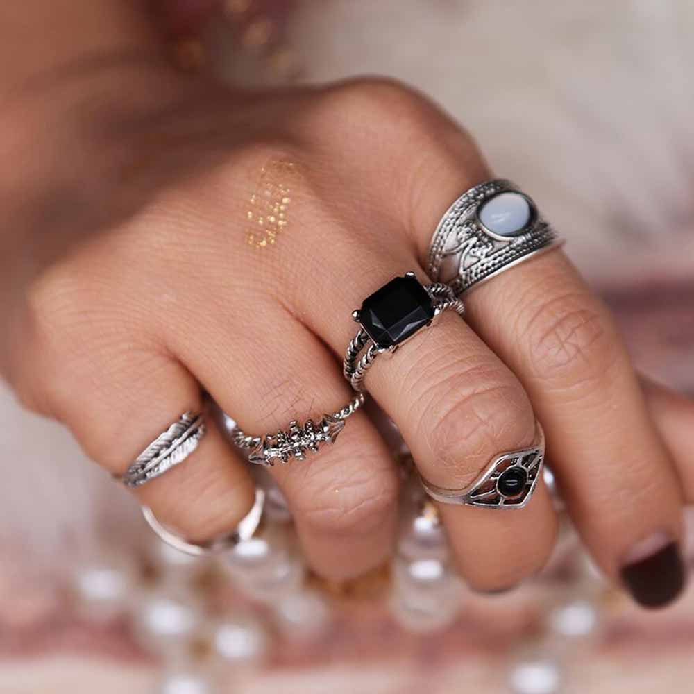 tomtosh black element 6pcsset rings bohemian water droplet boho beach vintage turkish punk finger