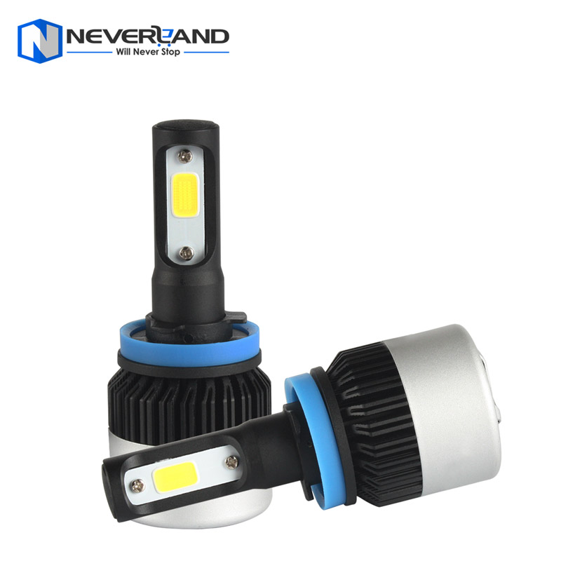 ФОТО 1Pair H11 72W 9000LM 6500K COB LED Car Automotive Headlight Kit Fog Lamp Bulb DRL Xenon White Play & Plug