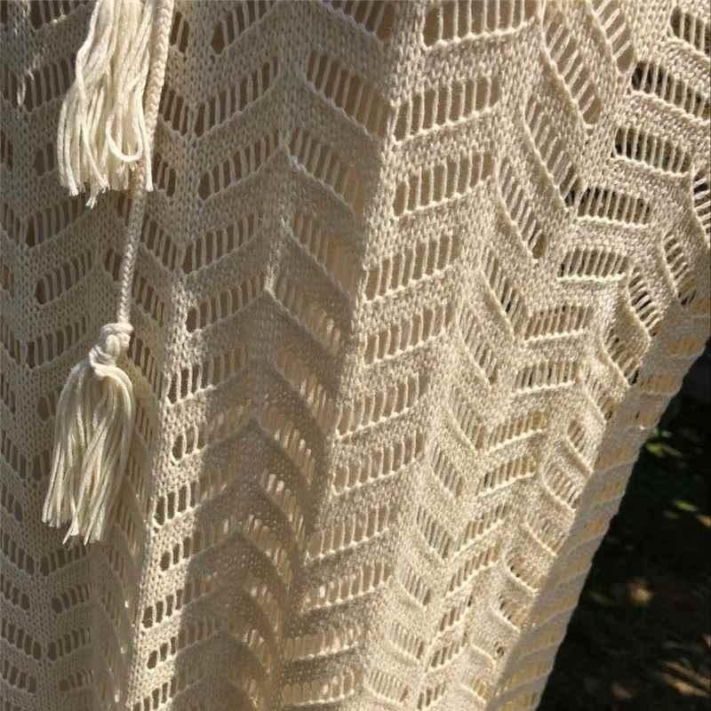 مثير الدانتيل يصل انظر من خلال الجوف خارج هامش مقنع اللباس طويل كم المشمش الذاتي التعادل فضفاض مرونة محبوك شاطئ البسيطة اللباس N447