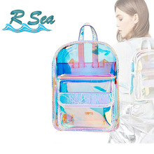 Laser Transparent Backpak Fashion Hologram Women Girls Backpack Waterproof PVC Shiny School Bag Korean Style Dropshipping