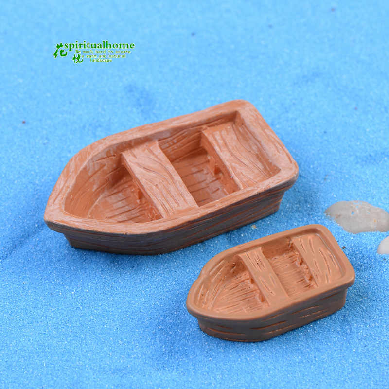 4pcs Boats Resin Fittings Models Moss Micro Landscape Decoration Miniature Figurines Miniature Garden Home Decor