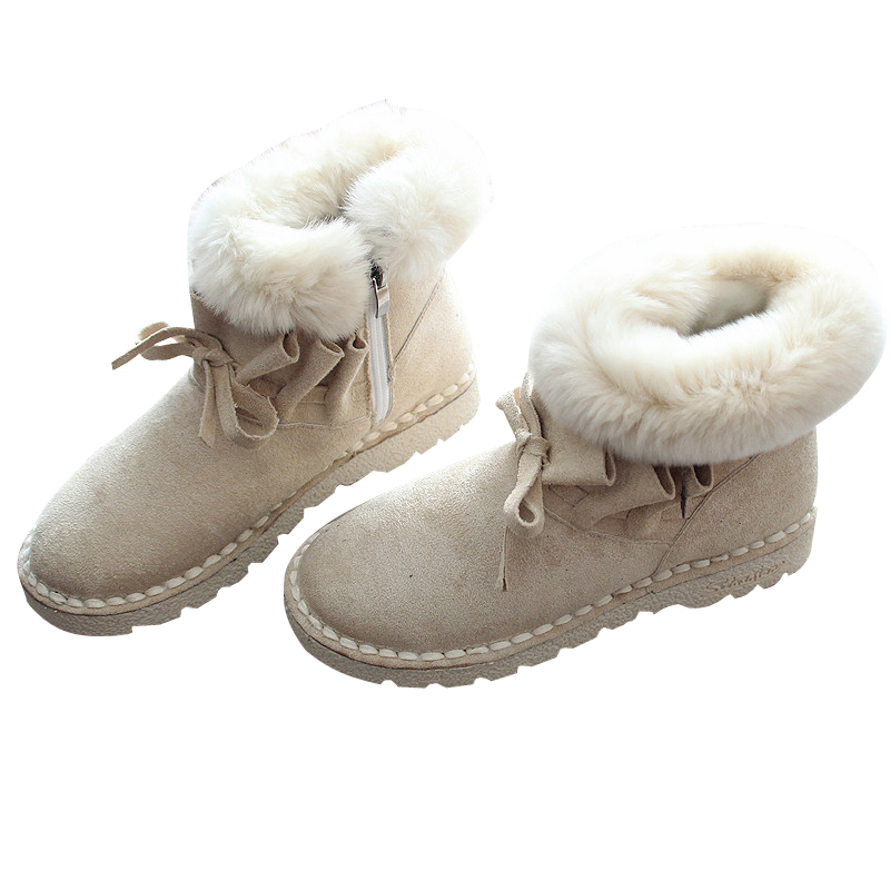 warm flat shoes short boots fur rabbit ankle boots 2018 Winter new snow boots literary shoes