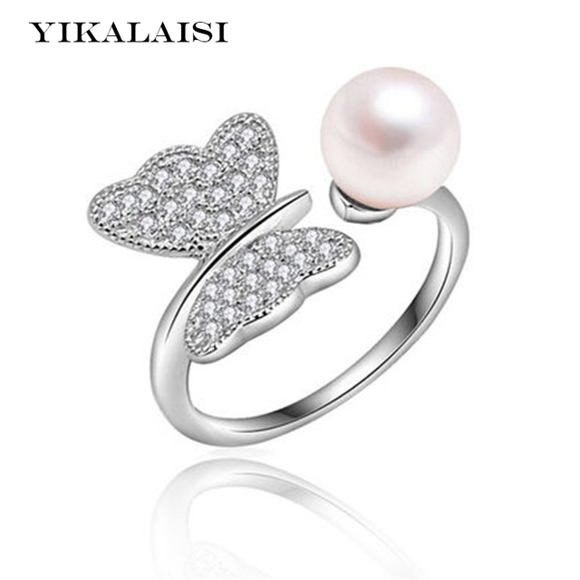 yikalaisi 2017 pearl ring jewelry butterfly ring perfect circle pearl wedding rings 925 sterling silver jewelry - Pearl Wedding Ring