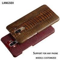New LANGSIDI Genuine Leather Case For ZTE Nubia N1 NX541J 5 5 Luxury Ostrich Feet Texture