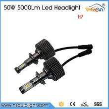 2pcs H7 led car headlight head lamp light 50W 10000LM with fan automobile xenon white bulb replace xenon halogen light