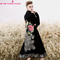 Women Vintage flower peacock embroidery long cashmere wool knitted cardigan coat winter knitting sweater jumper coat E7415