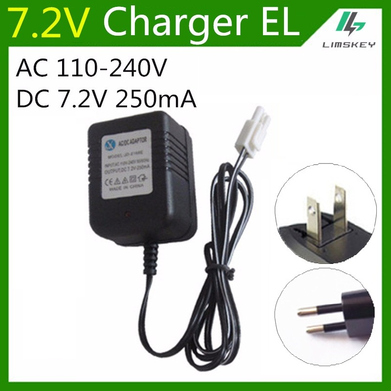 7.2v 250 Ma Charger Fpr Nicd And Nimh Battery Pack Charger For Toy Rc Car Ac 110v-240v Dc 7.2v 250ma Sm Black Plug Accessories & Parts