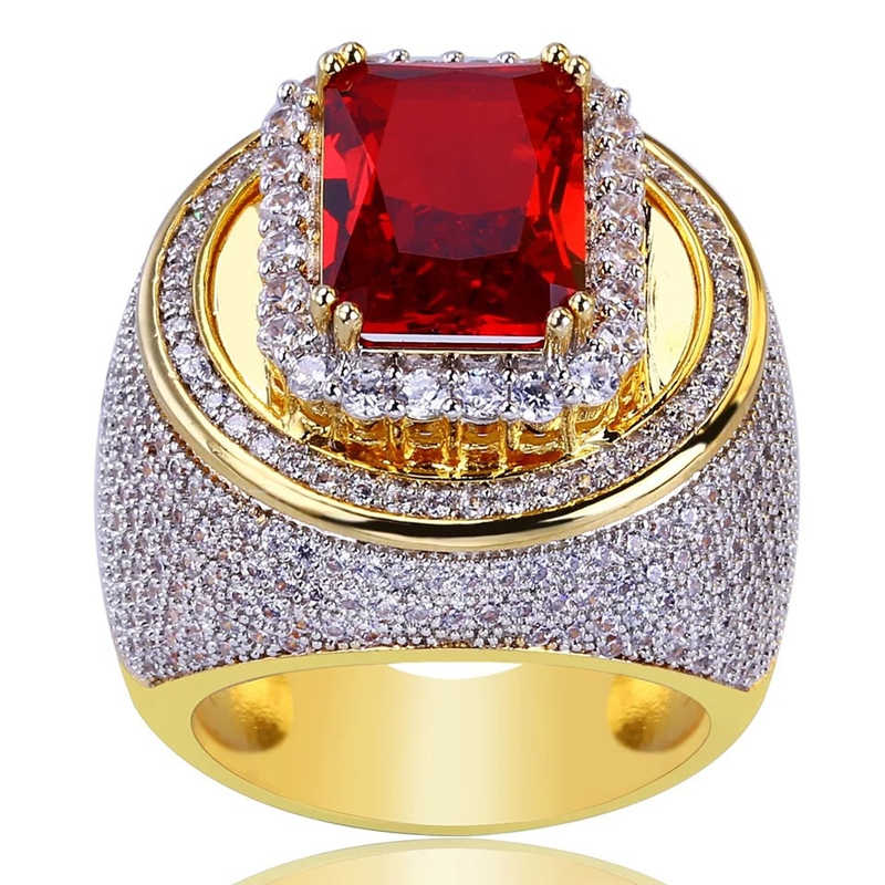 Large Red Rhinestone Ring Puffed Marine Micro Bling Iced Out Cubic Zircon  Luxury Fashion Hiphop Rock 4bd31ef8dc38