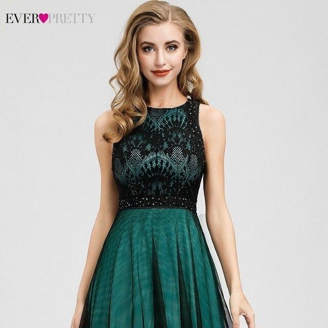 Elegant Dark Green Evening Dresses Long Ever Pretty EZ07965 A-Line Contrast Color Embroidery Lace Formal Dresses Robe De Soiree 5
