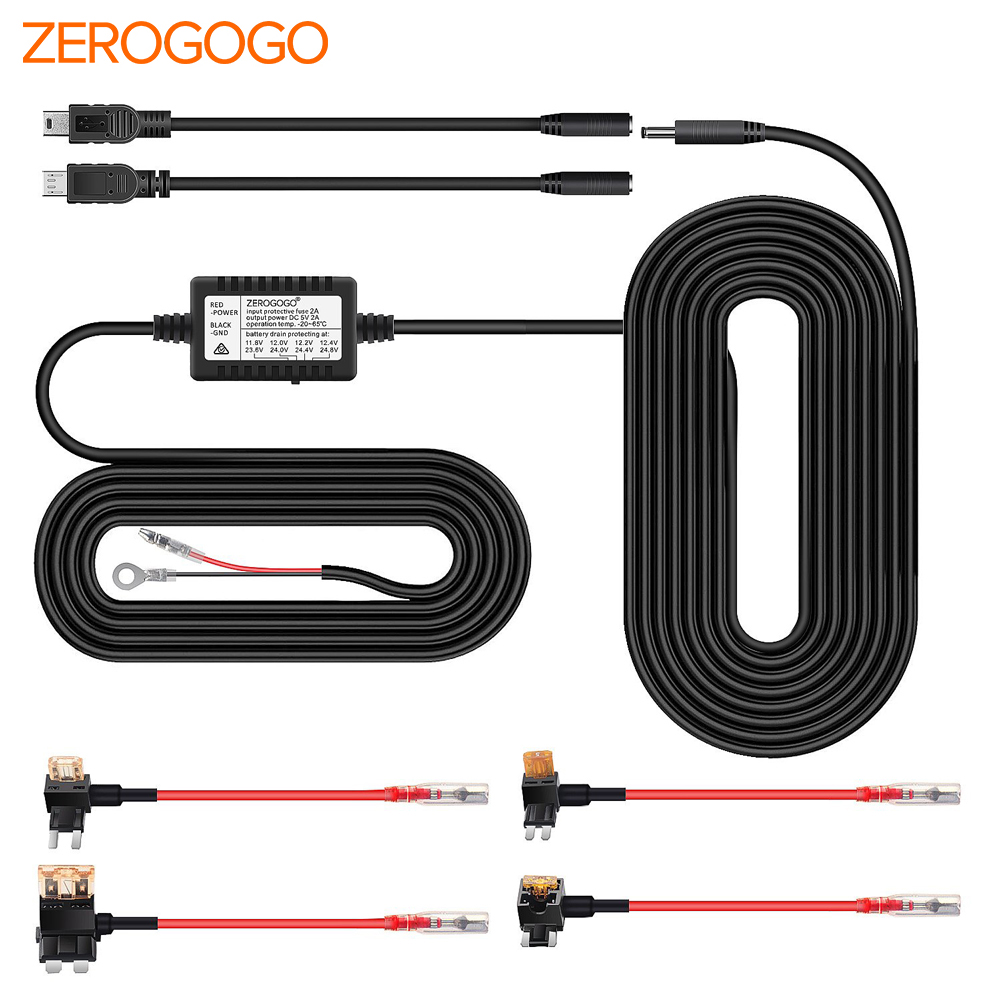 Mini USB and Micro USB Port Cable 12V//24V Input myGEKOgear Dash Cam Hardwire Kit 5V 2.5A Output for Dash Cam GPS with Battery Drain Protection