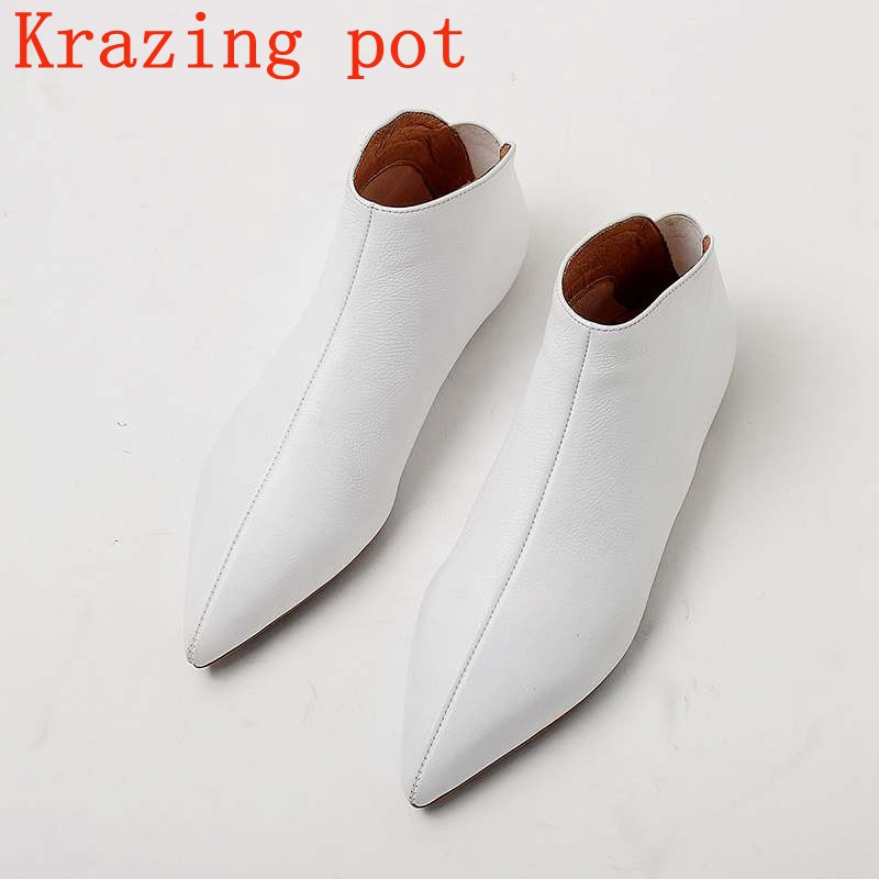 Krazing Pot full grain leather soft skin winter spring modern girl pointed toe slip on casual flats young lady pregnant shoe L31 krazing pot empty after shallow shoes woman lace work flats pointed toe slip on sheep suede causal summer outside slippers l16