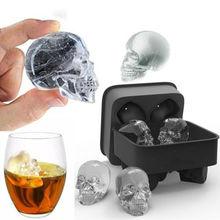 Силиконовый 3D форма черепа ледяной куб Лотки Плесень коктейли виски производитель